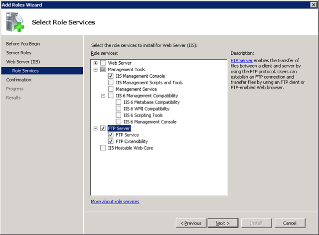 Server 2008 R2 FTP Role Services