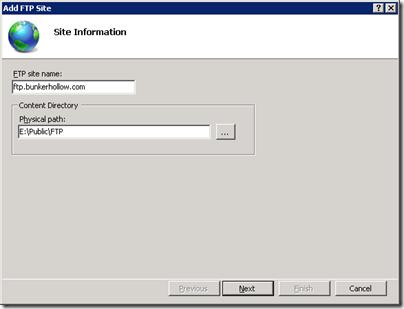 Server 2008 R2 FTP Site Information
