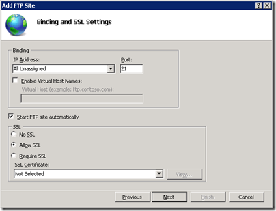 Server 2008 R2 FTP Binding and SSL Settings