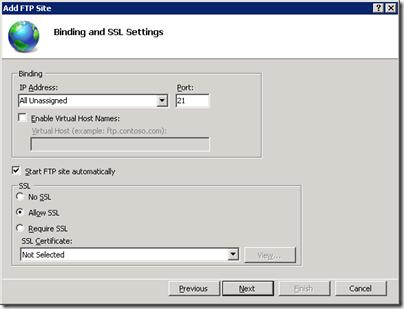 Server 2008 R2 FTP Binding and SSL Settings