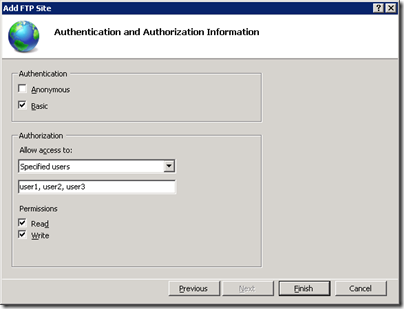 Server 2008 R2 FTP Authentication and Authorization Information