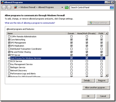 Server 2008 R2 FTP Firewall Allow Programs to communciate through Windows Firewall